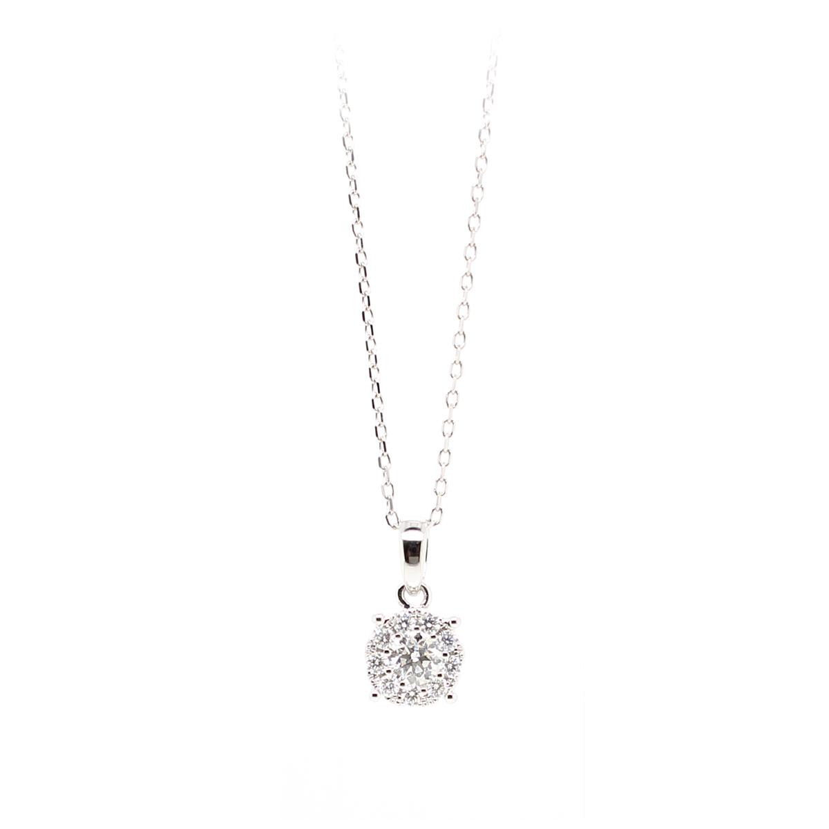 14 Karat White Gold Diamond Cluster Pendant Necklace