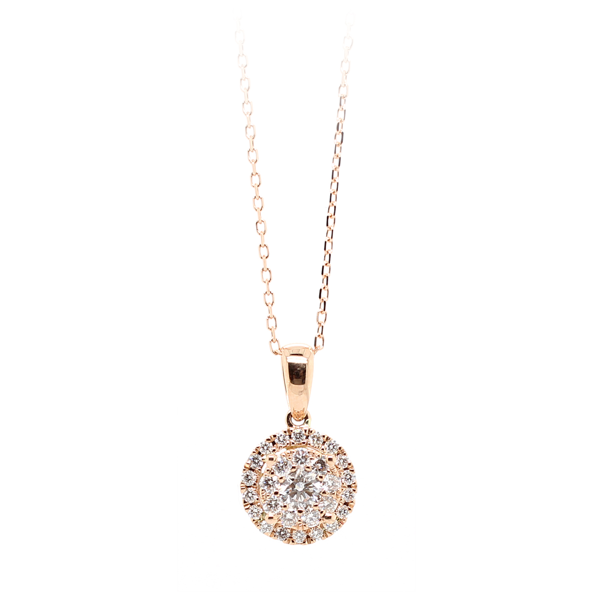 14 Karat Rose Gold Diamond Cluster Pendant Necklace