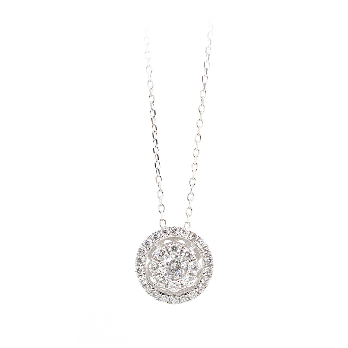14 Karat White Gold Diamond Cluster Pendant Necklace