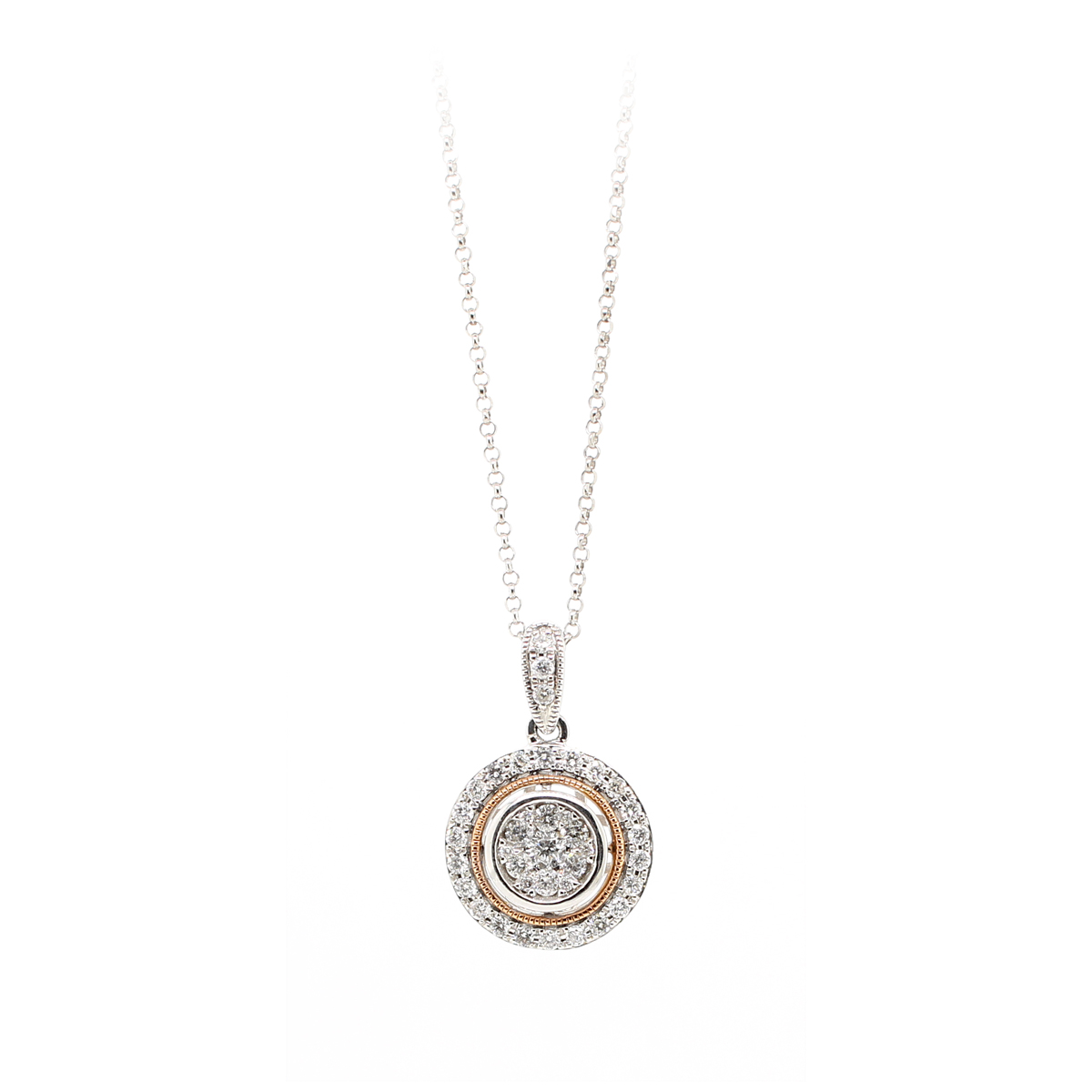 14 Karat White Gold Round Halo Diamond Pendant Necklace