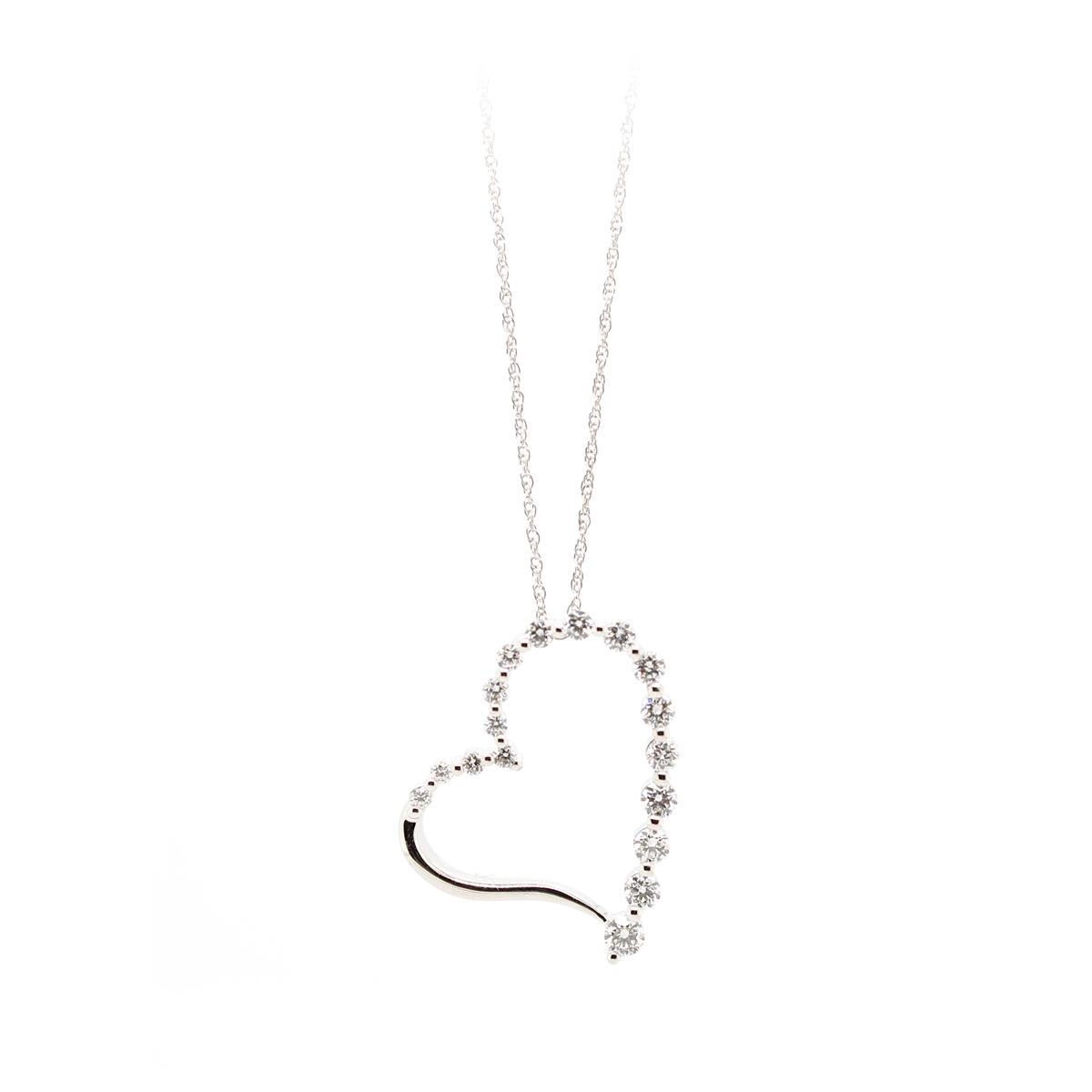 18 Karat White Gold Cutout Heart Diamond Pendant Necklace
