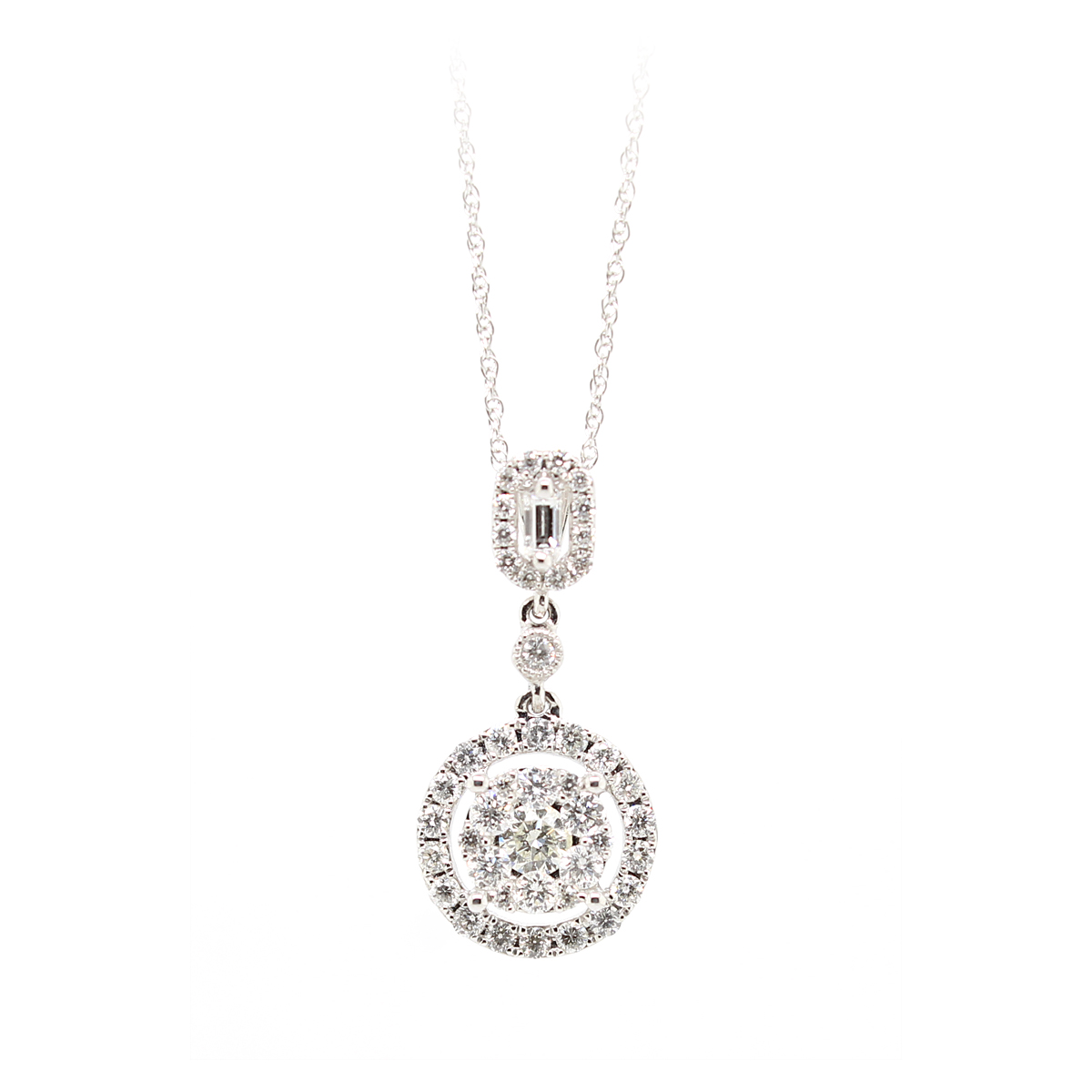 18 Karat White Gold Circular Diamond Halo Pendant Necklace