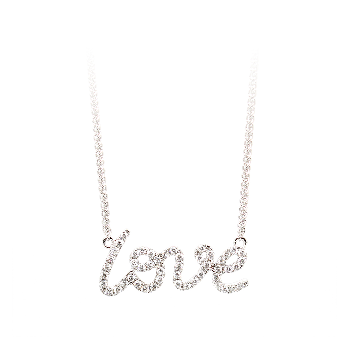 "18 Karat White Gold Diamond ""LOVE"" Adjustable Necklace"