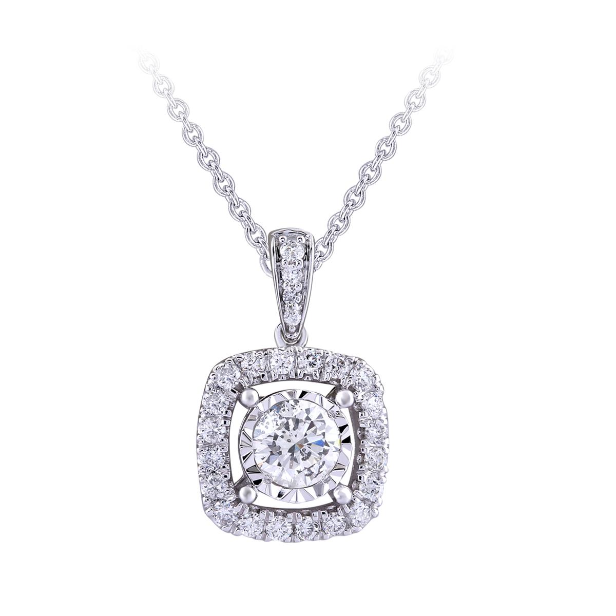 Paramount Gems 14 Karat White Gold Round .5 Carat Diamond Halo Pendant Necklace
