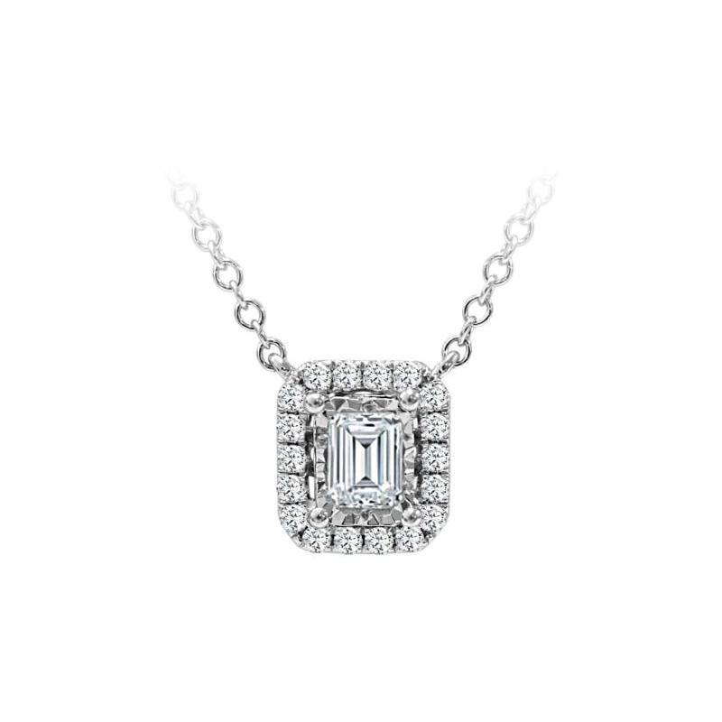 Paramount Gems 18 Karat White Gold .5 Carat Emerald Cut Diamond Halo Pendant Necklace