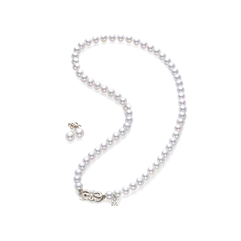 Mikimoto Lady's 18 Karat White Gold Akoya Pearl Necklace and Stud Earring Set