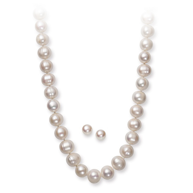 Sterlring Silver Freshwater Pearl Necklace & Earring Set