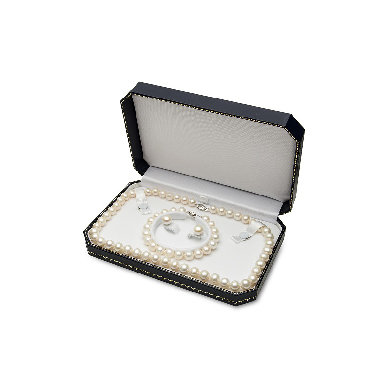 14 Karat White Gold Akoya Cultured Pearl Set