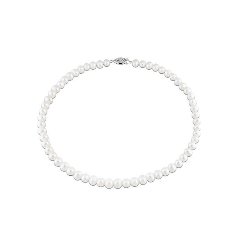 14 Karat white gold and 6-7mm AAA quality white freshwater cultured pearl necklace.