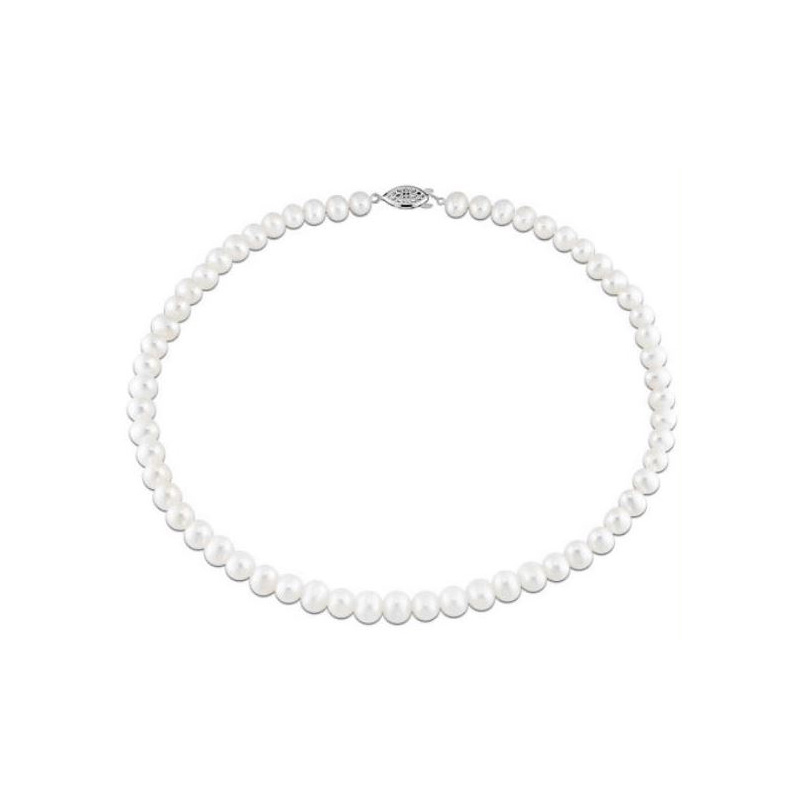 14 Karat white gold and 7-8mm AAA quality white freshwater cultured pearl necklace.