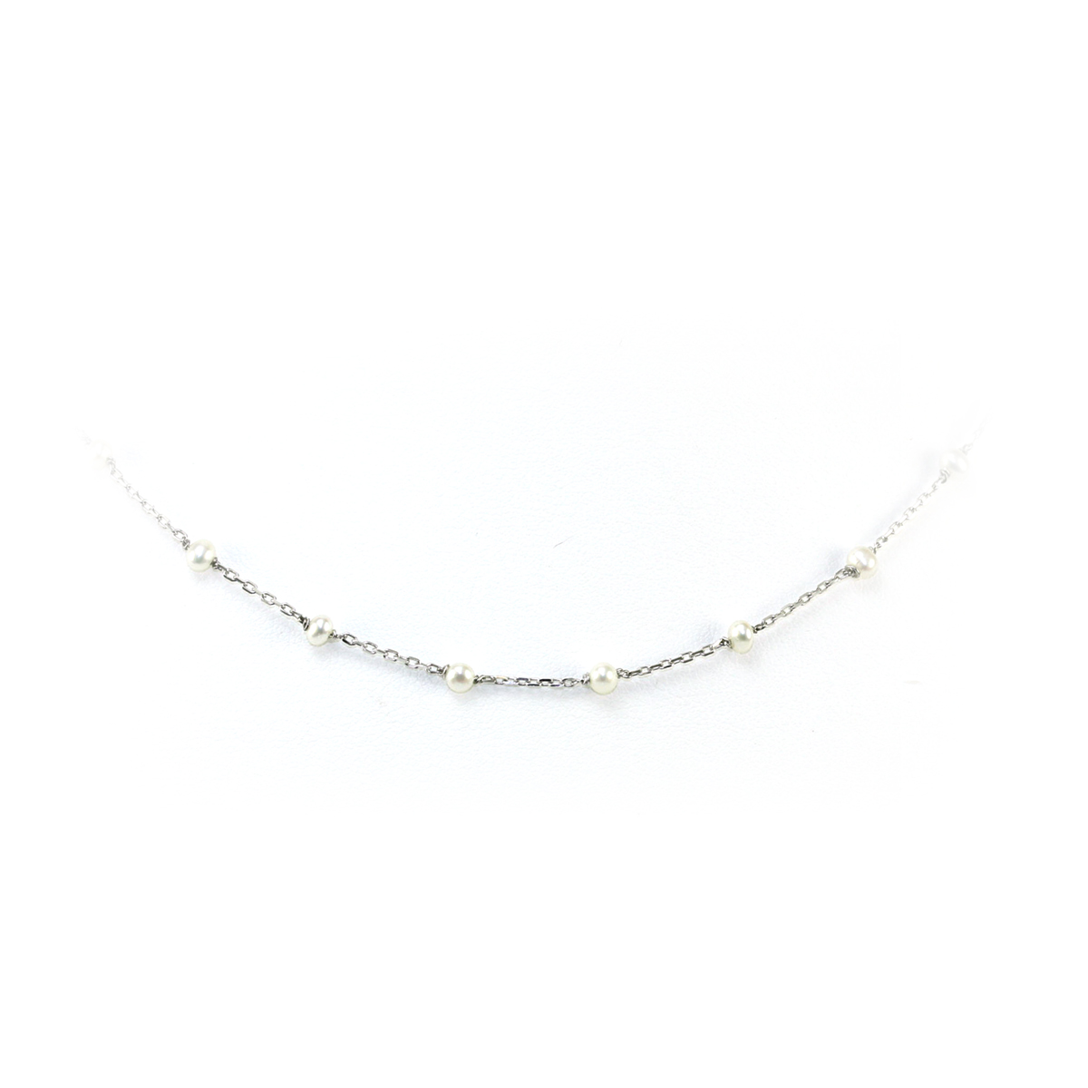 Sterling Silver Oval Link and Seat Pearl Necklace