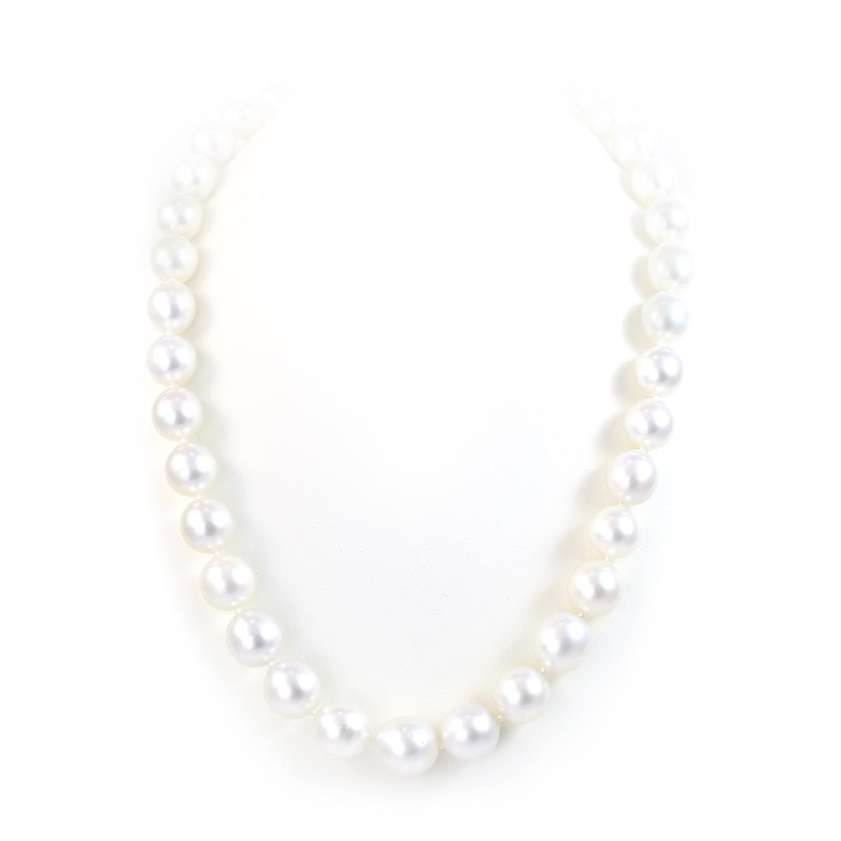 14 Karat White Gold 10-11.5mm White South Sea Pearl Necklace