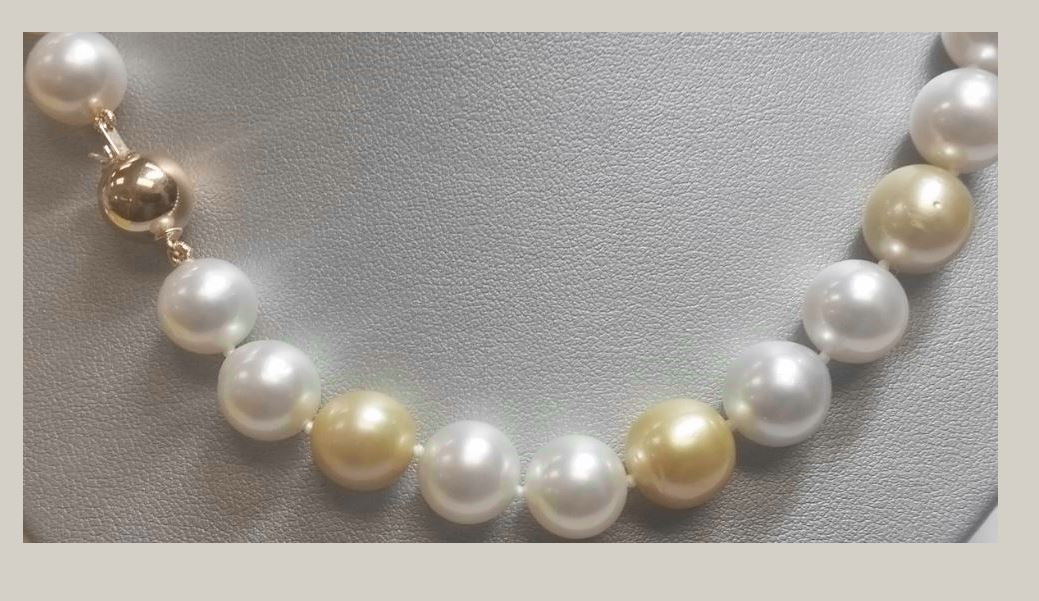 China Pearl 18 Karat Yellow Gold White and Gold South Sea Pearl Necklace