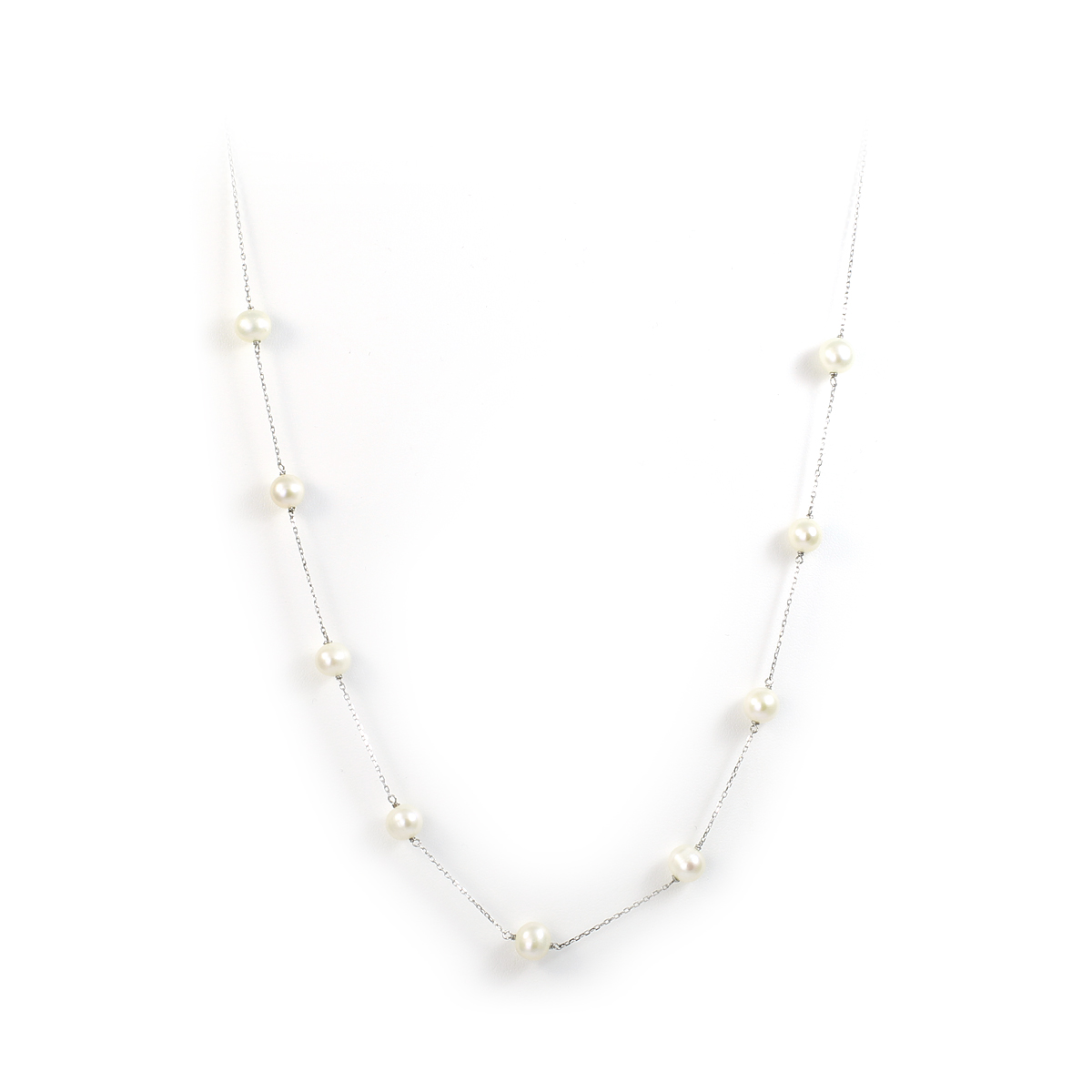 China Pearl Sterling Silver 7-8mm Freshwater Pearl Tin Cup Necklace