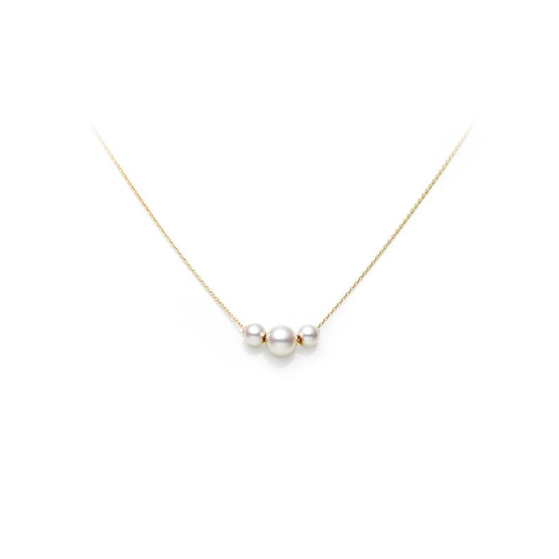 Mikimoto Lady's 18 Karat Yellow Gold Adjustable Pearl Necklace