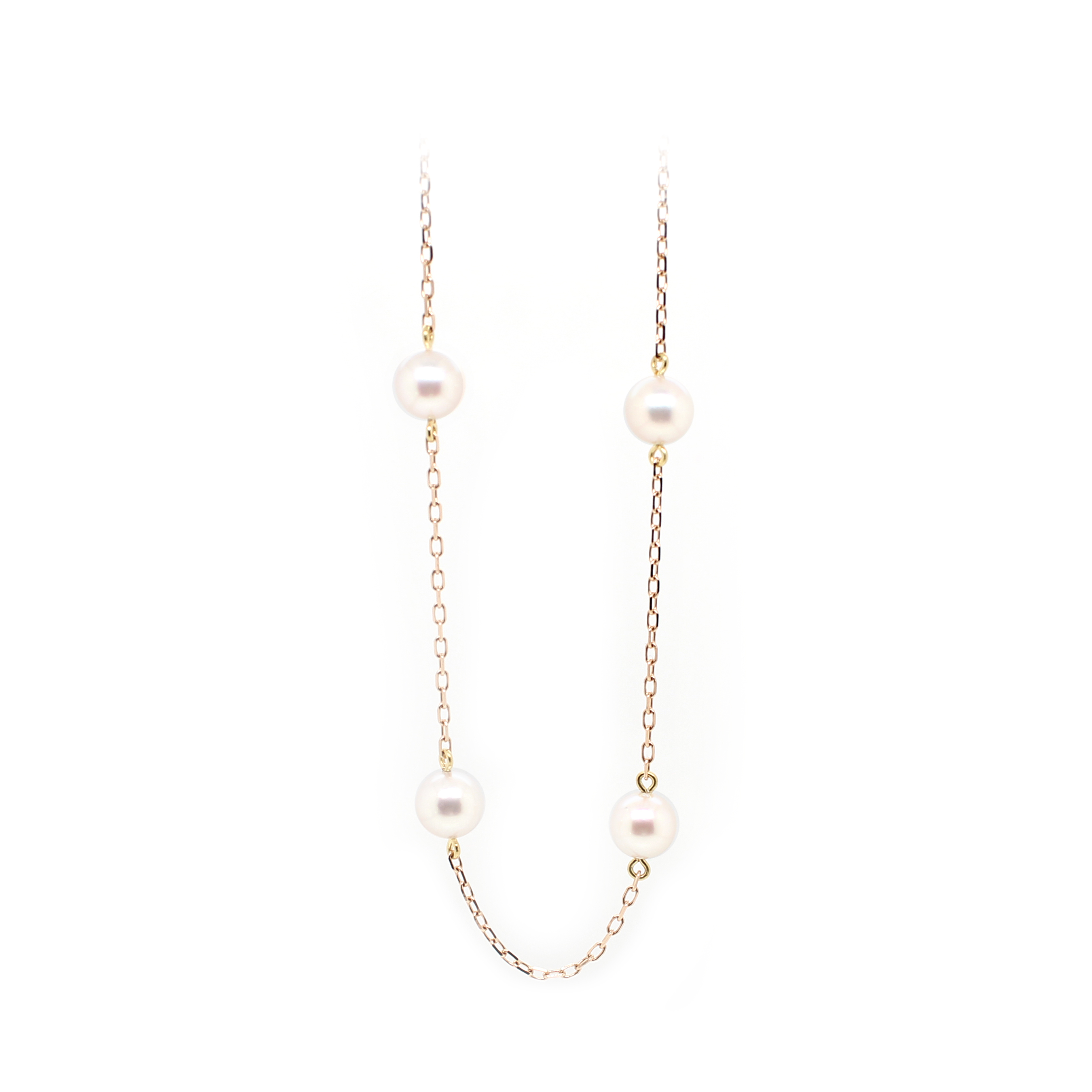 Mikimoto 18 Karat Rose Gold Akoya Pearl Chain Necklace