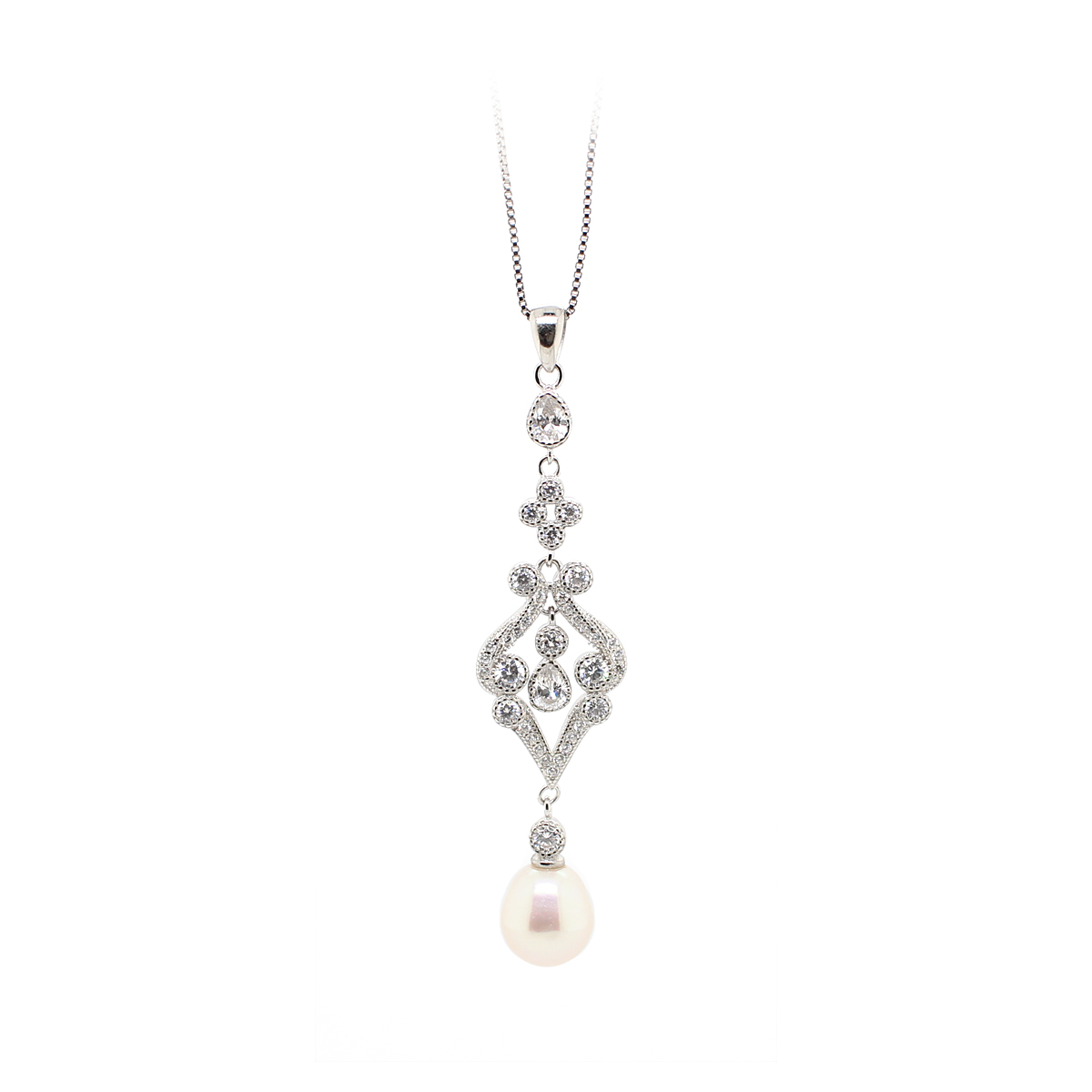 14 Karat White Gold Dangle Pearl and Cubic Zirconia Necklace