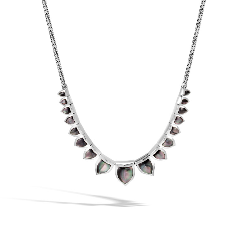 John Hardy Legends Naga Silver Mini Chain necklace with Grey Mother of Pearl