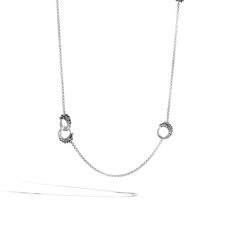 John Hardy Naga Brushed Station Necklace with Black Spinel