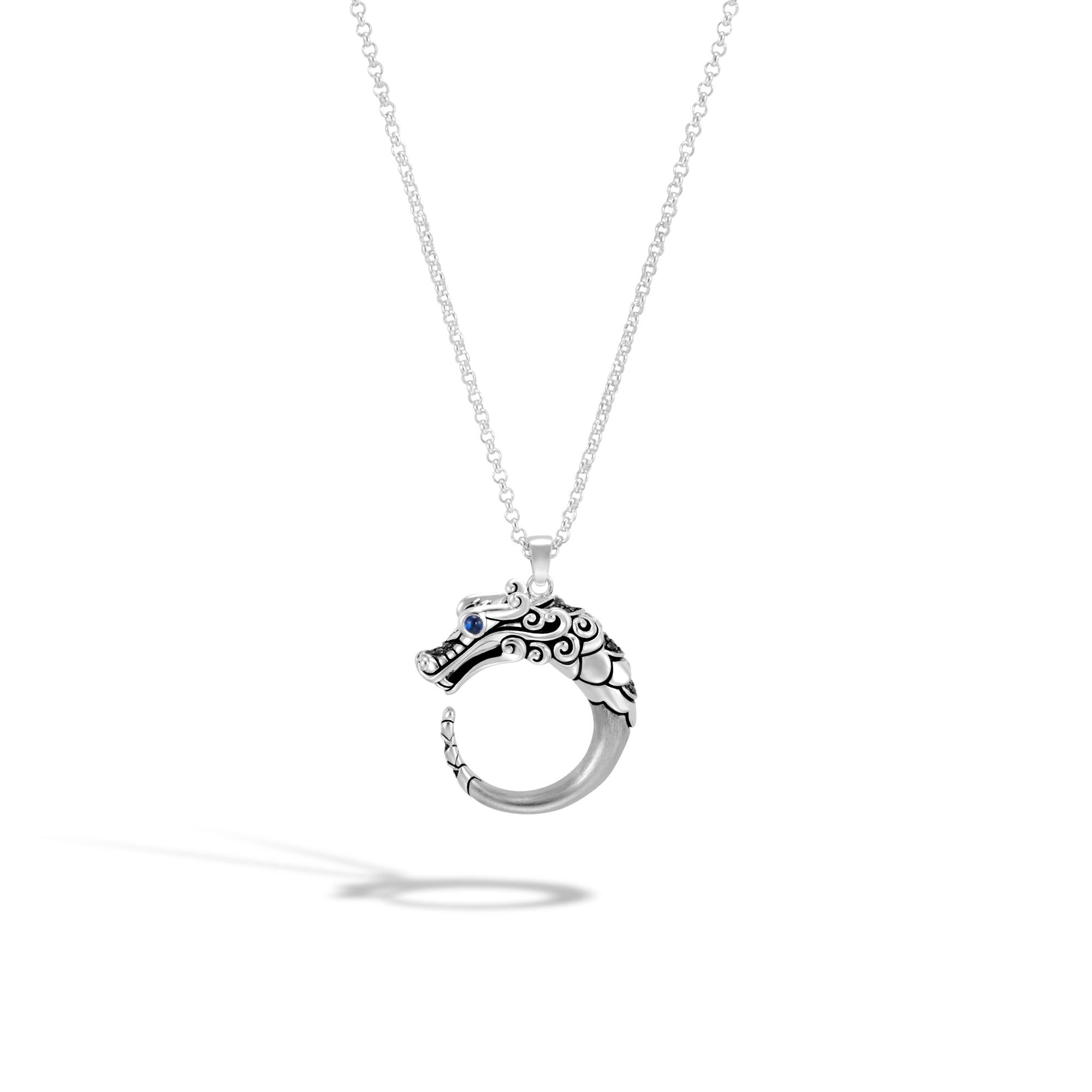 John Hardy Naga Brushed Pendant Necklace, Black Sapphire, Black Spinel