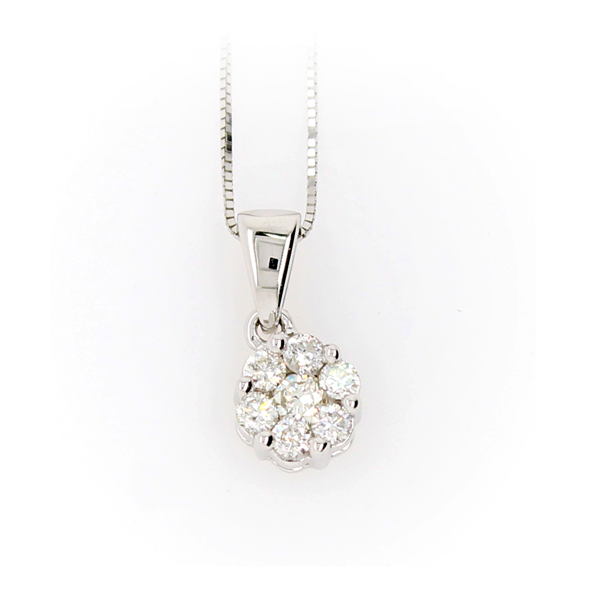 Shefi Diamonds 10 Karat White Gold Cluster Diamond Pendant Necklace