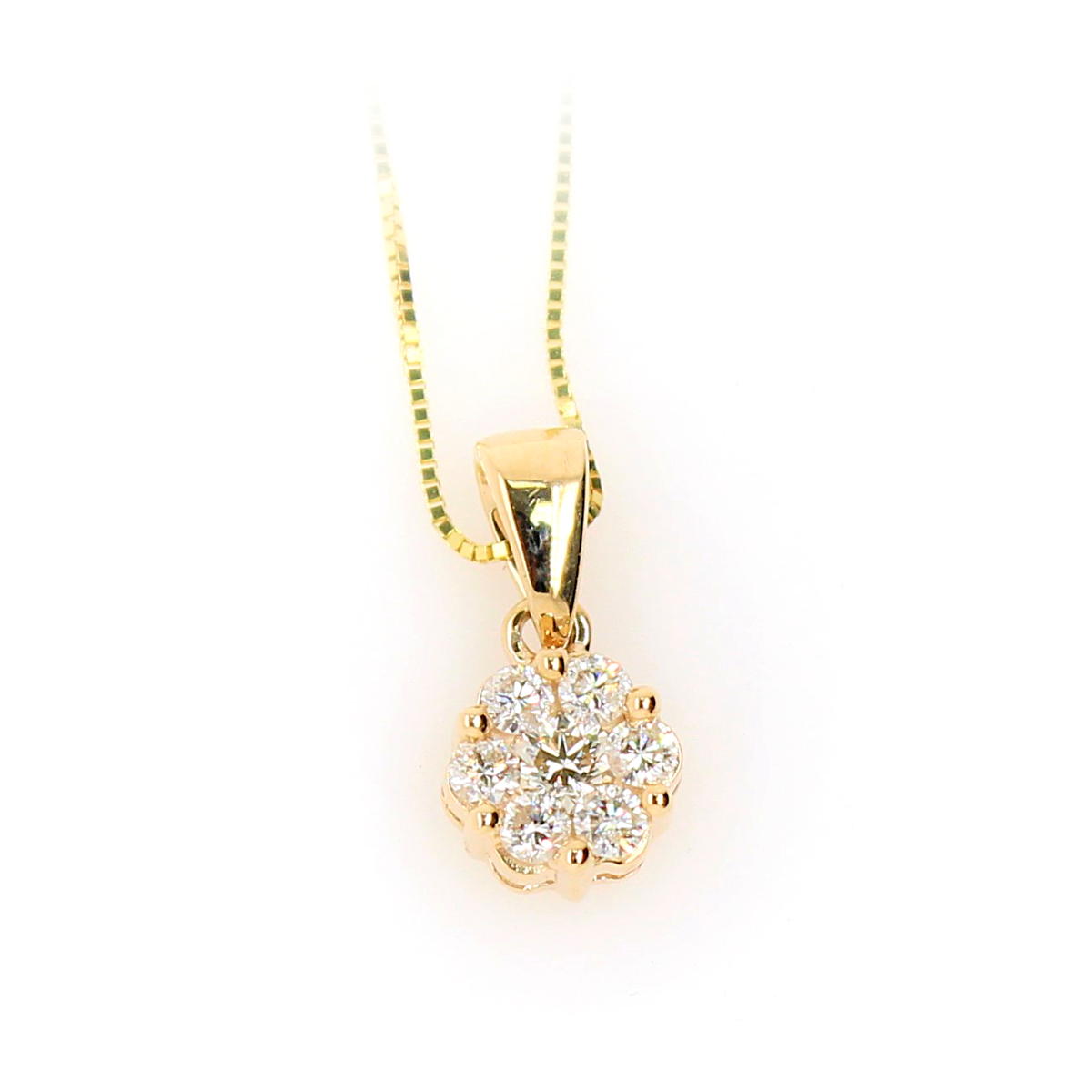 Shefi Diamonds 10 Karat Yellow Gold Cluster Diamond Pendant Necklace