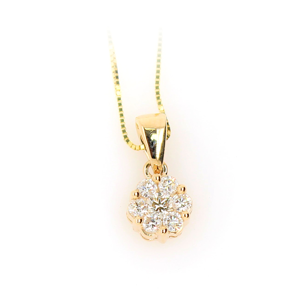 Shefi Diamonds 10 Yellow White Gold Cluster Diamond Pendant Necklace