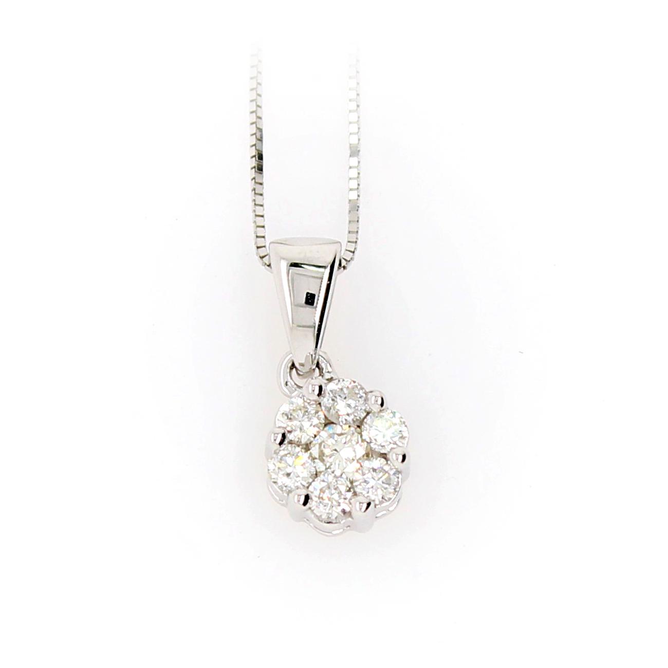 Shefi Diamonds 10 Karat White Gold Cluster Diamond Pendant Necklace