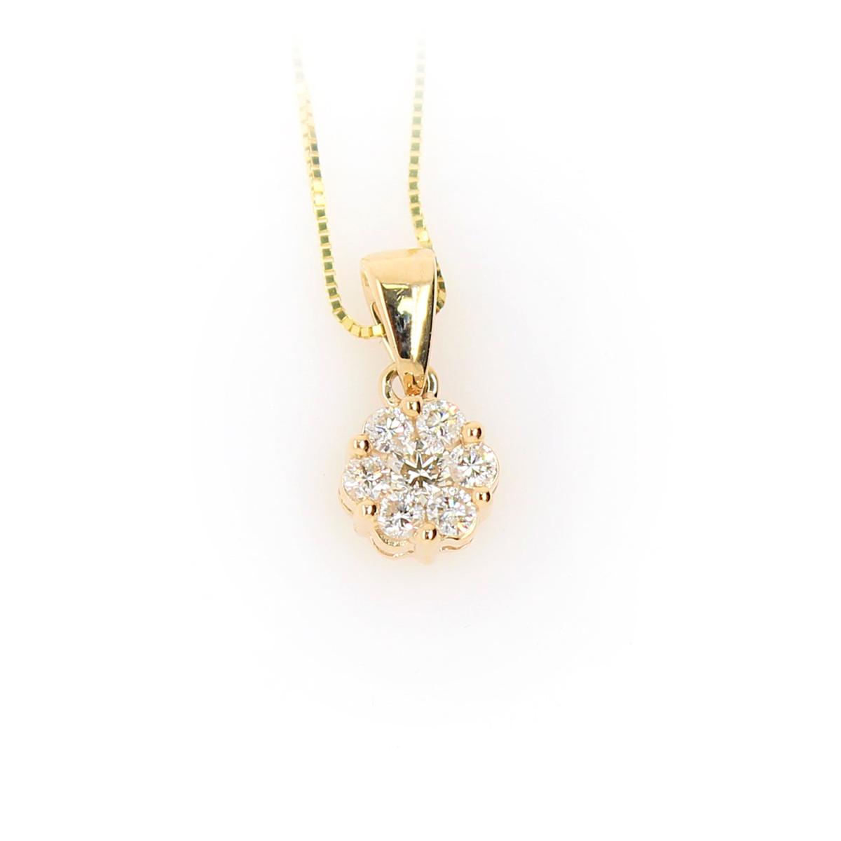 Shefi Diamonds 10 Karat Yellow Gold .2 Carat Cluster Diamond Pendant Necklace
