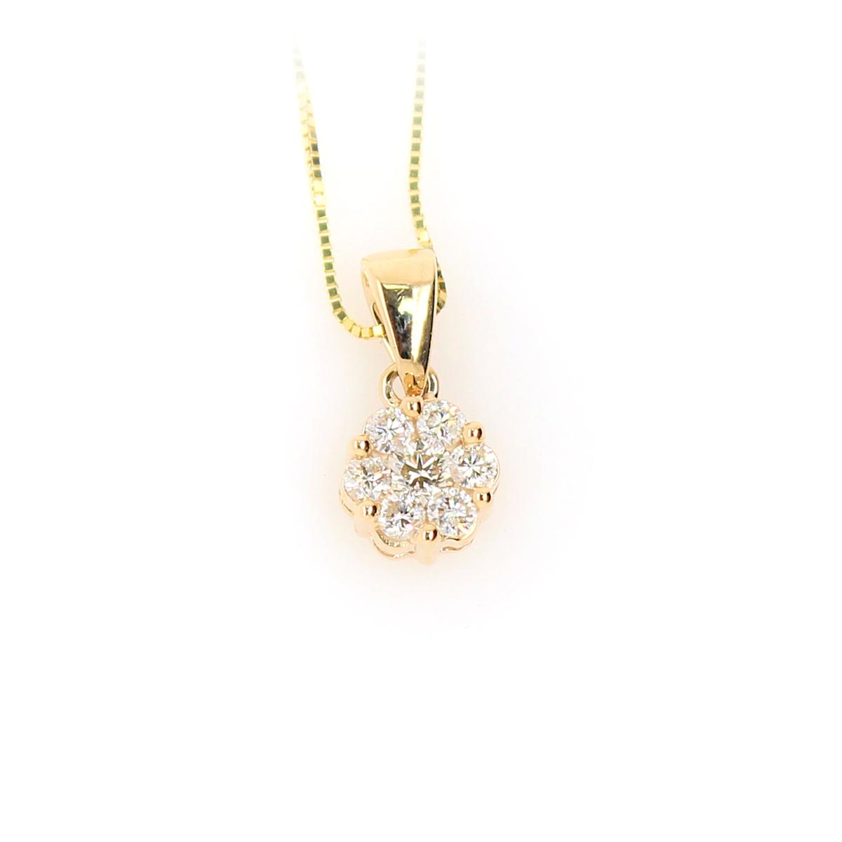 Shefi Diamonds 10 Karat Yellow Gold 1.5 Carat Cluster Diamond Pendant Necklace