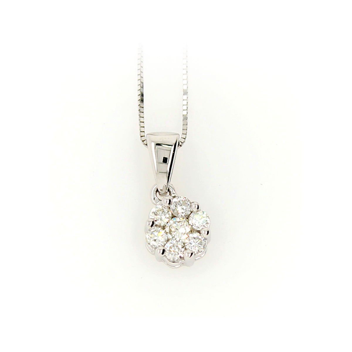 Shefi Diamonds 10 Karat White Gold .2 Carat Cluster Diamond Pendant Necklace