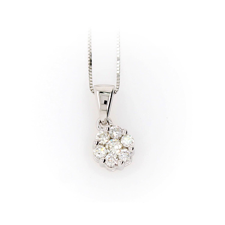 Shefi Diamonds 10 Karat White Gold 1.5 Carat Cluster Diamond Pendant Necklace