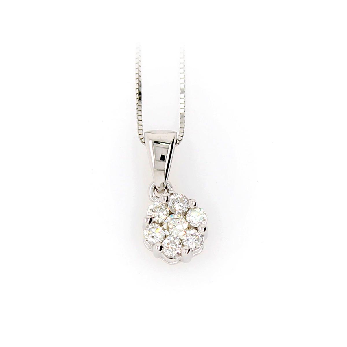 Shefi Diamonds 10 Karat White Gold 2 Carat Cluster Diamond Pendant Necklace