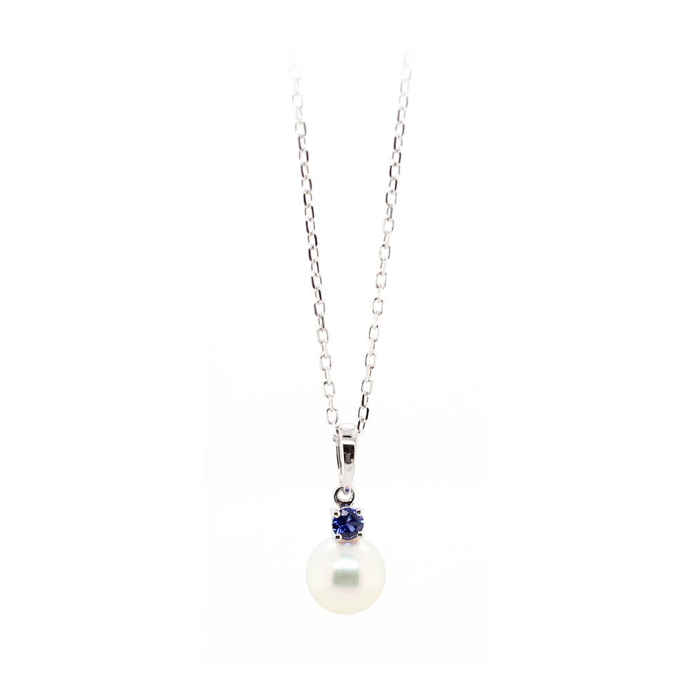 Mikimoto 18 Karat White Gold Pearl and Sapphire Pendant Necklace