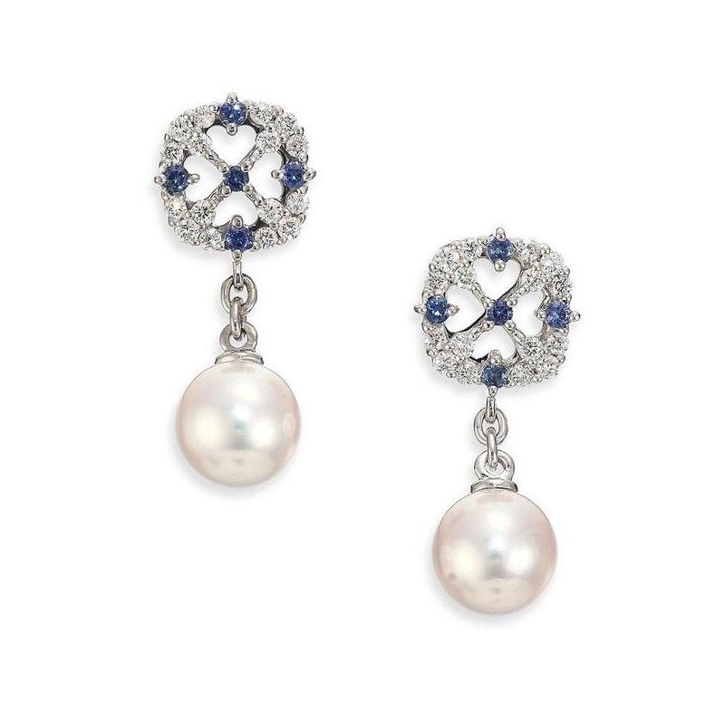 Mikimoto 18 karat Akoya pearl A+ quality, diamond and sapphire dangle earrings