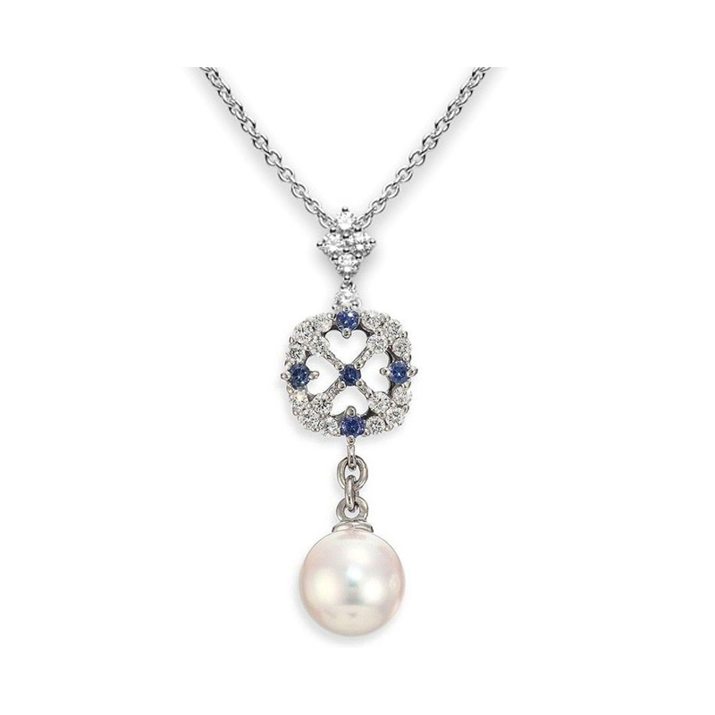 Mikimoto 18 karat white gold Akoya A+ pearl, diamond and sapphire pendant suspended on an 18 inch oval link chain with a lobster clasp
