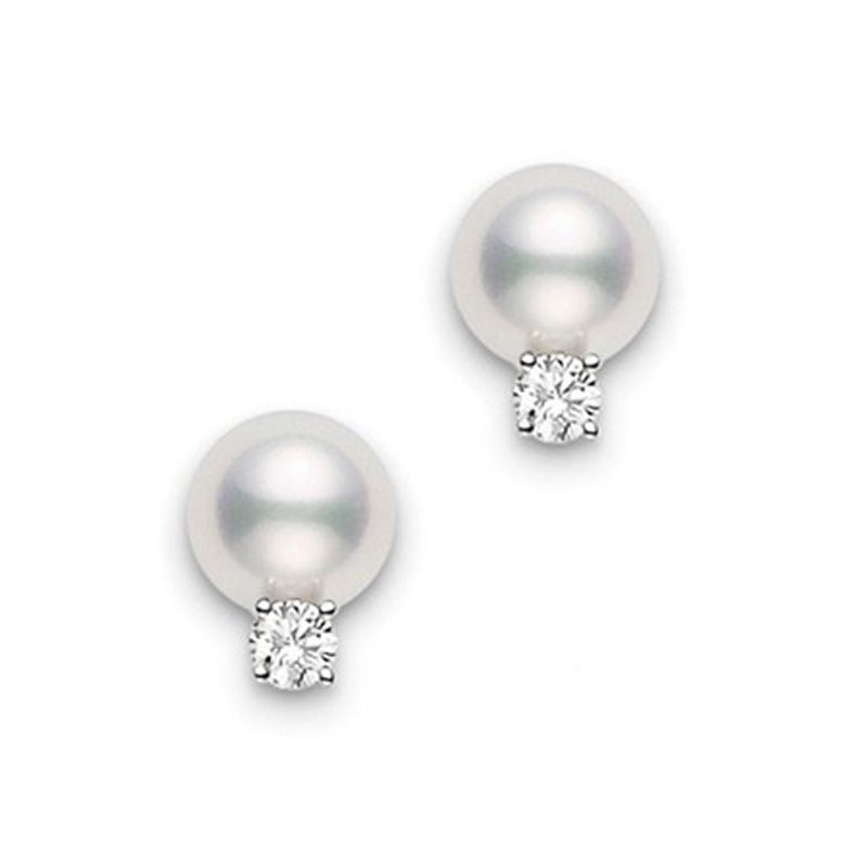 Mikimoto white gold stud pearl and diamond earrings 6 by 6.5mm