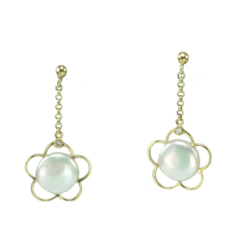 Yvel Ladies 18 Karat Yellow Gold Biwa Pearl And Diamond Flower Drop Earrings