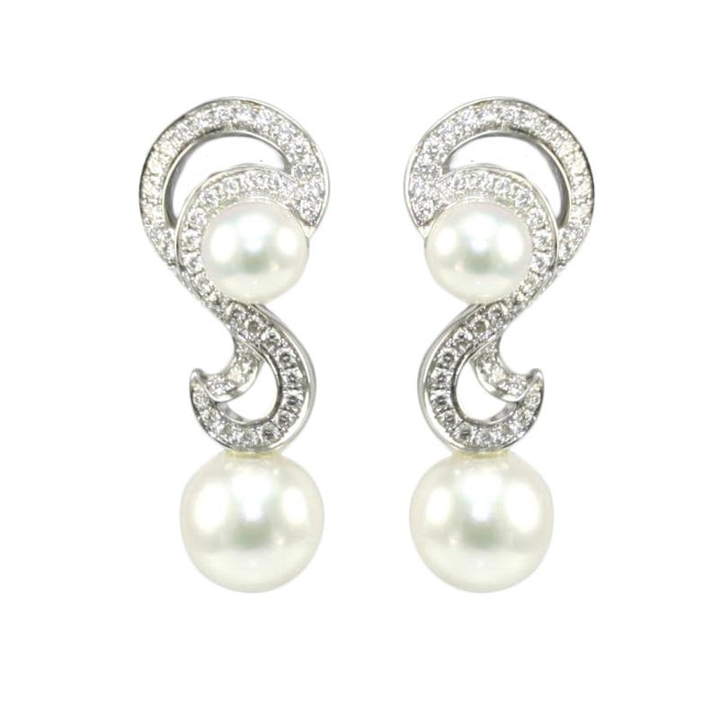 Mikimoto 18 karat white gold pearl and diamond drop earrings