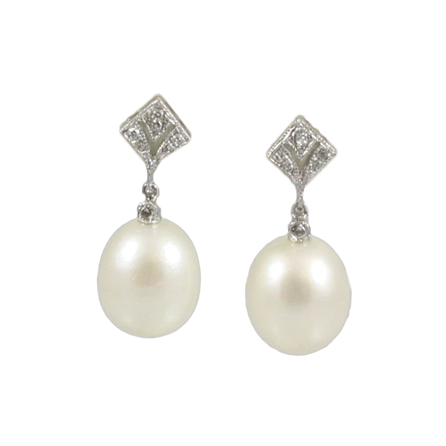 14 Karat White Gold Oval Pearl and Diamond Drop Earrings
