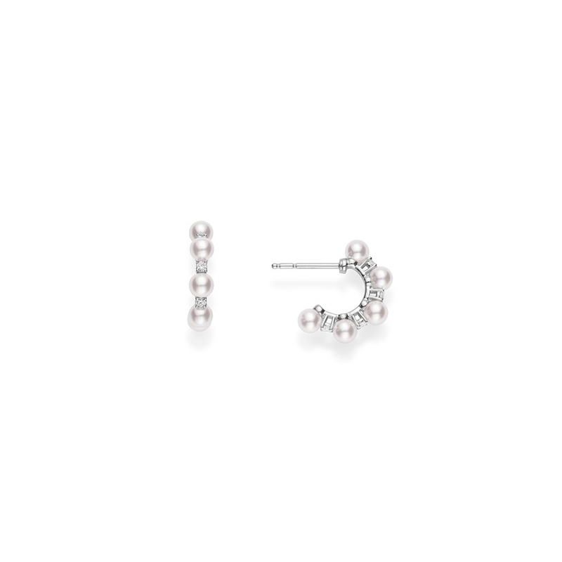Mikimoto 18 Karat White Gold Pearl and Diamond 1/2 Hoop Earrings