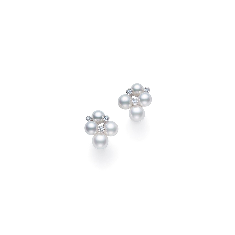 Mikimoto 18 Karat White Gold Pearl and Diamond Earrings
