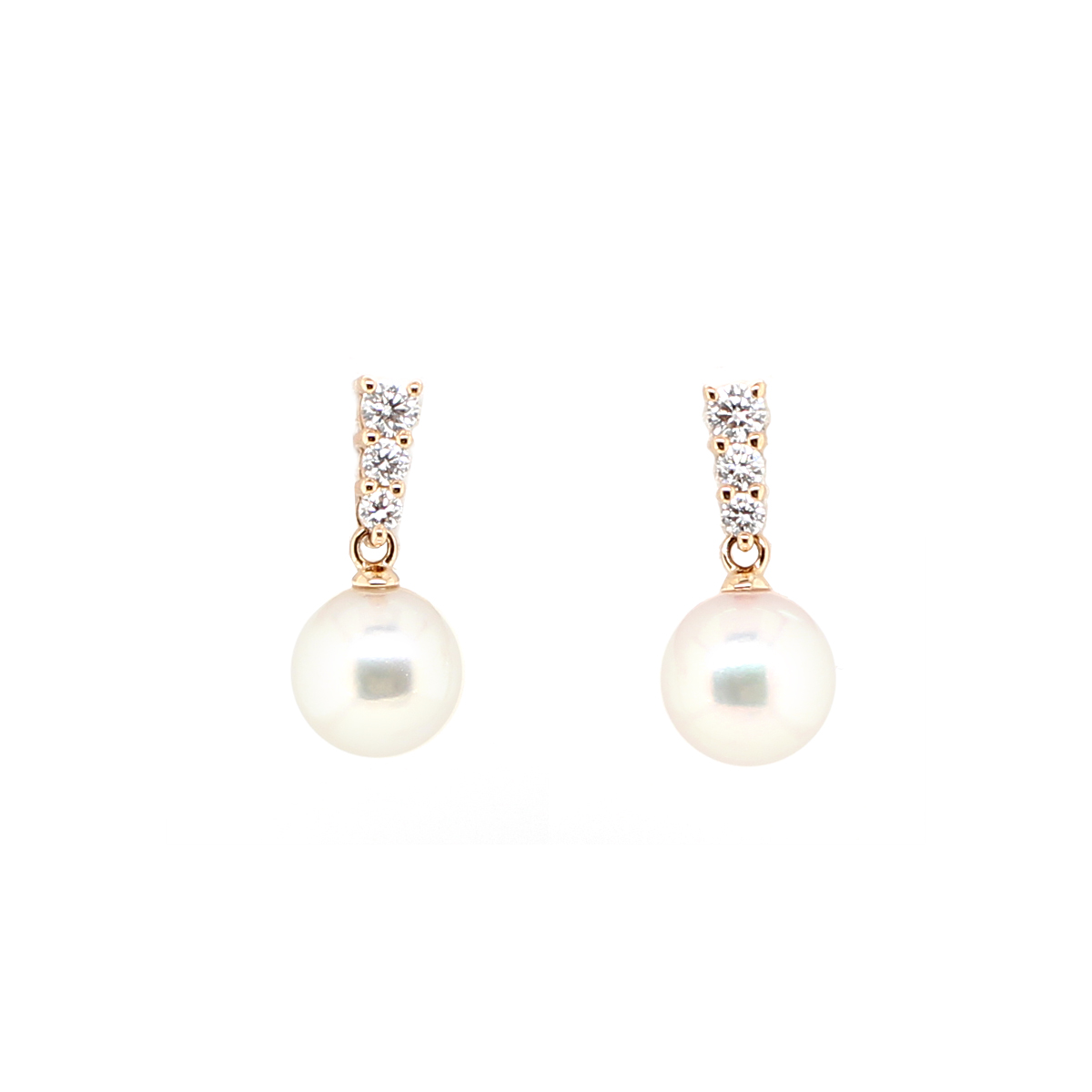 Mikimoto 18 Karat Rose Gold Diamond and Pearl Earrings