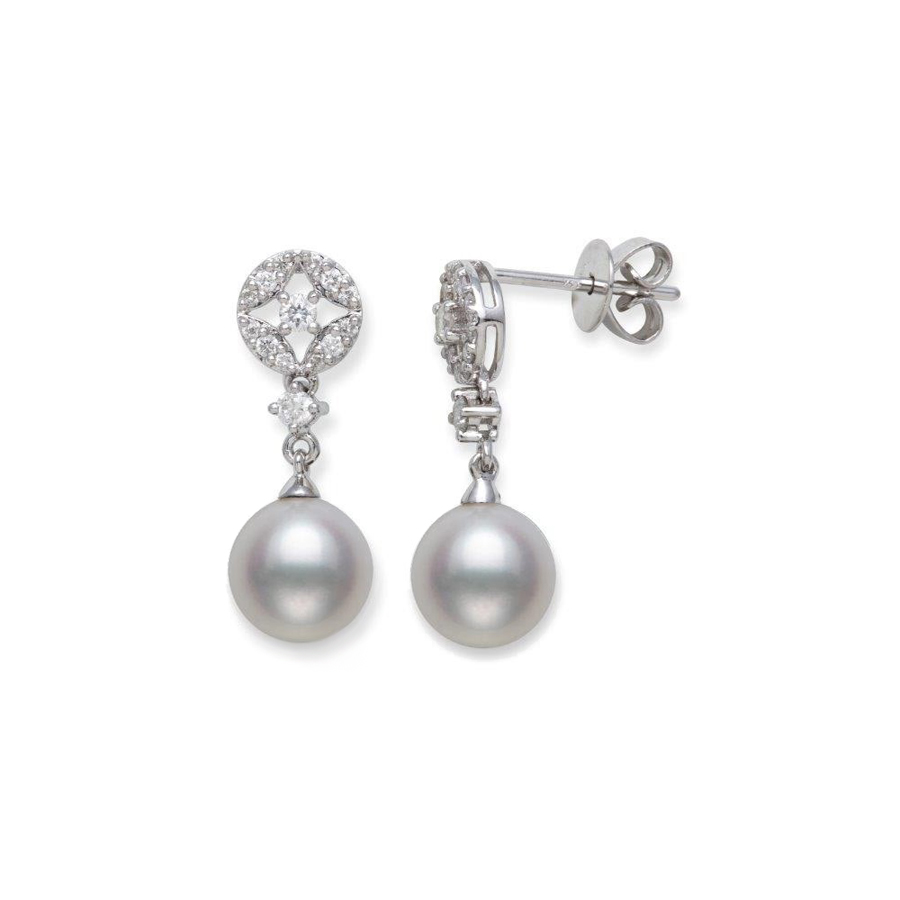 14 Karat White Gold Freshwater Pearl and Diamond Dangle Earrings