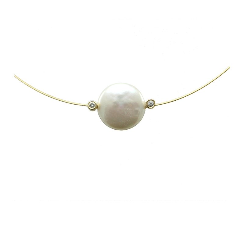 Yvel 18 Karat Yellow Gold and Biwa Pearl Wire Necklace