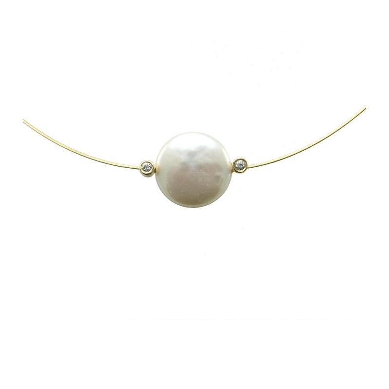 Yvel 18 Karat Yellow Gold and Biwa Pearl Wire Necklace