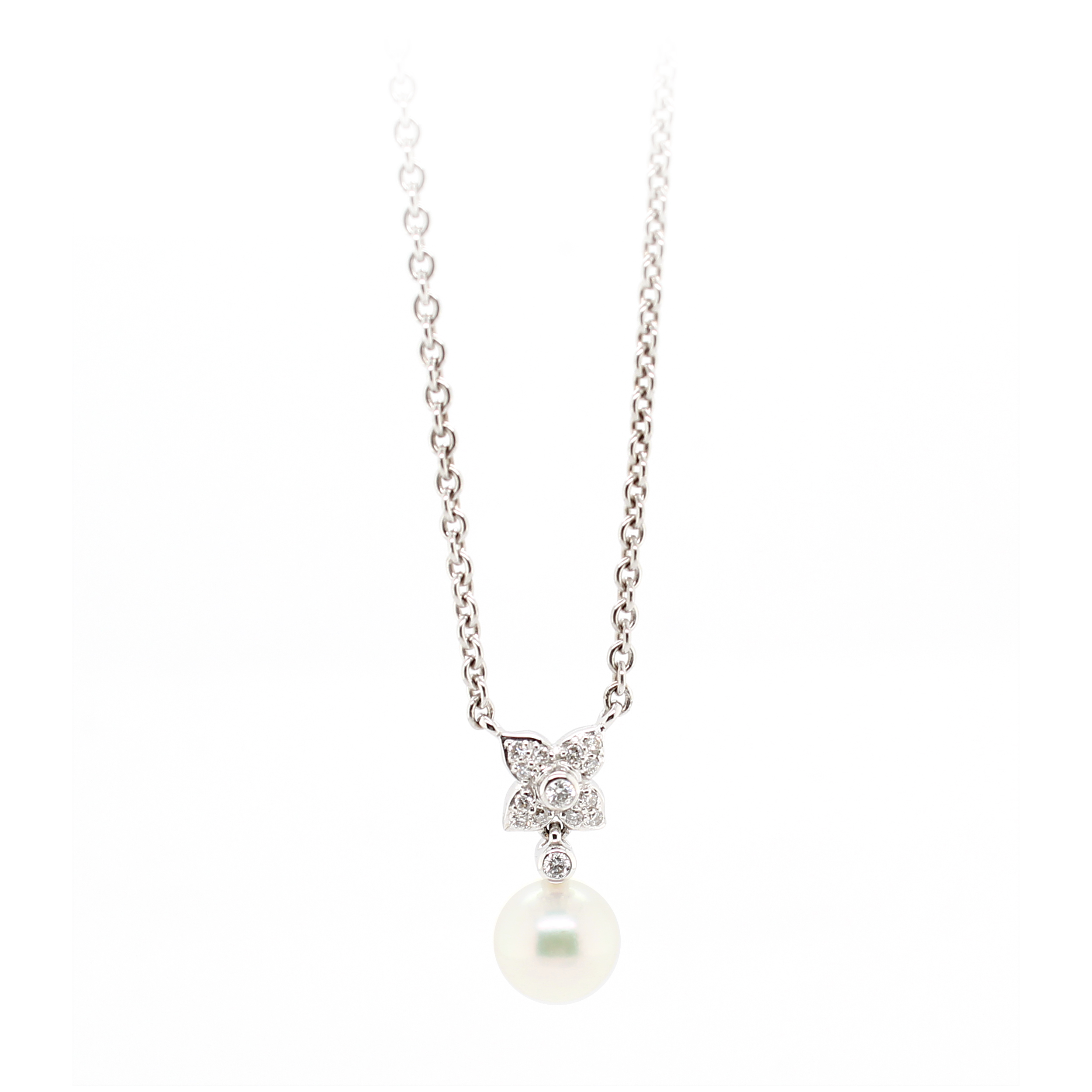 Mikimoto 18 Karat White Gold White Pearl and Diamond Pendant Necklace