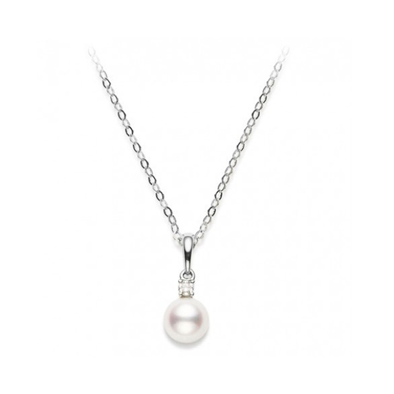 Mikimoto 18 karat white gold pearl and diamond pendant