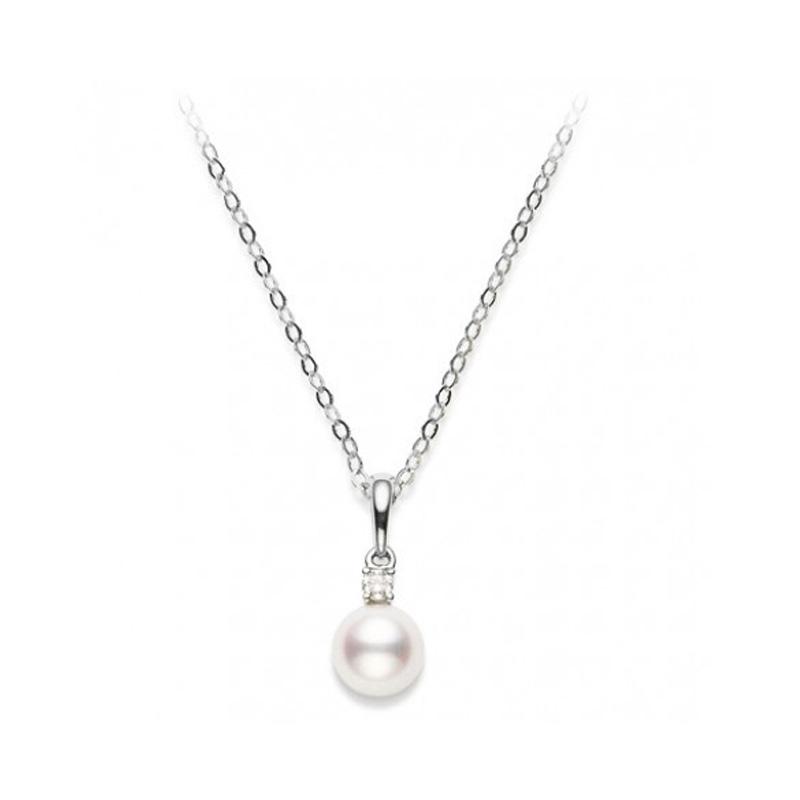 Mikimoto 18 karat white gold pearl and diamond pendant