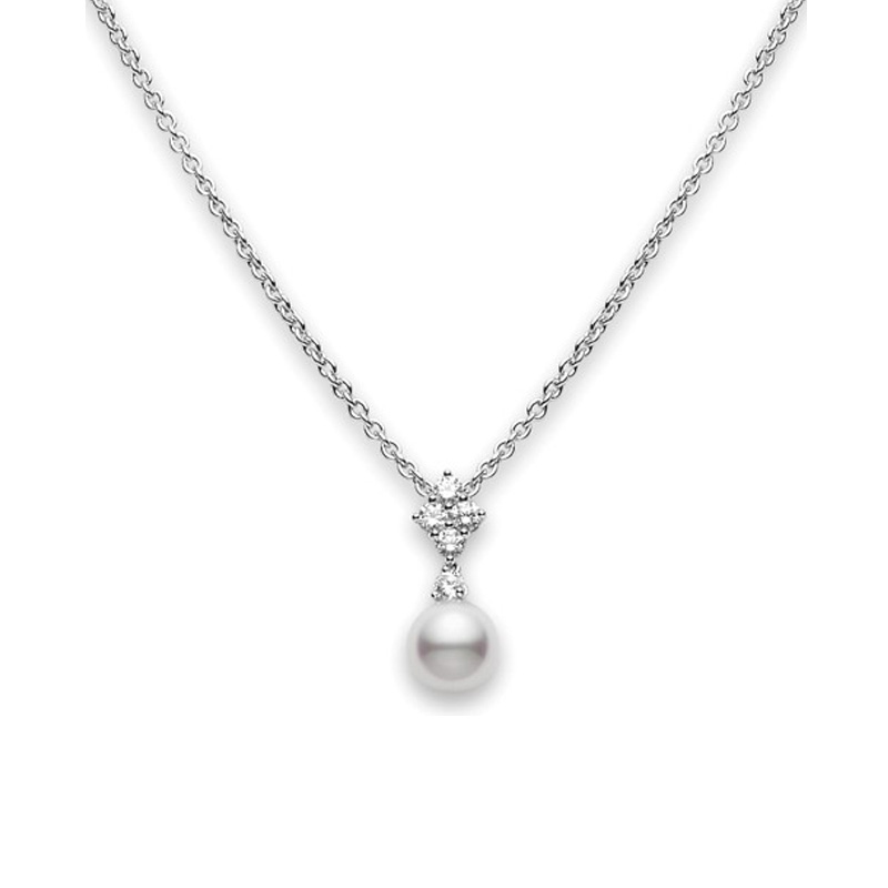 Mikimto 18 karat white gold pearl and diamond movable pendant necklace